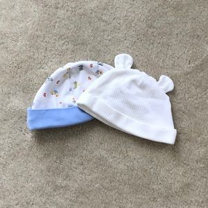 2 NEW Carter's White & Blue Baby Hats